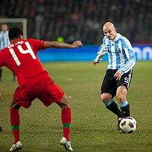 Cambiasso durante Argentina-Portogallo del 9 febbraio 2011.