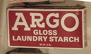 Associated British Foods - Old Argo laundry starch box, photographed at Edmonds Historical Museum.