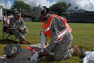 130th Engineer Brigade (United States) - A Brigade soldier performing simulated first aid during an exercise