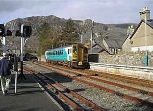 Blaenau Ffestiniog railway station - Image: Arriva railcar entering Blaenau Ffestiniog