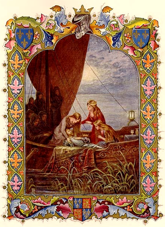 "King Arthur's messianic return - Arthur being taken to Avalon in a 1912 illustration for Alfred, Lord Tennyson's poem ""Morte d'Arthur"""