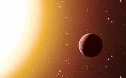 Artist's impression of a hot Jupiter exoplanet in the star cluster Messier 67.jpg
