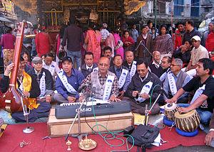 Gyanmala Bhajan Khala - Members of Annapurna Gyanmala Bhajan Khala singing hymns at Asan, Kathmandu.