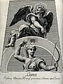 Astronomy; Diana, as Moon goddess, an angel above looking he Wellcome V0024874.jpg