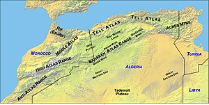 Middle Atlas - Map showing the location of the Atlas Mountains across North Africa (topographic and political)
