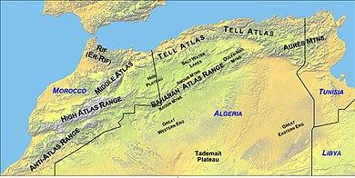 Atlas Mountains On World Map Atlas Mountains   Wikipedia