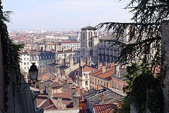 Vieux Lyon - Saint-Jean quarter, part of the Vieux Lyon, with the Saint-Jean cathedral as seen from the montée des Chazeaux.