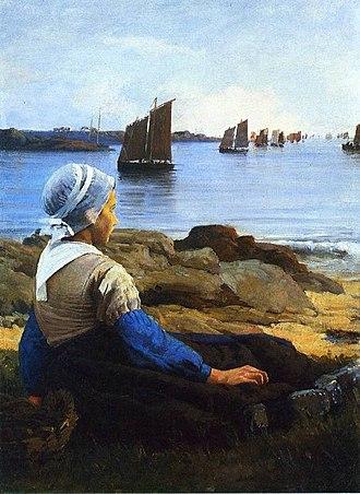 Edward Simmons (painter) - Image: Awaiting his return, 1884 Edward Simmons
