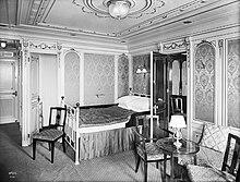 Photo d'une cabine de première classe sur le Titanic.