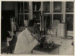 BASA-746K-1-84-2 lab worker with microscope Bozhurishte medical center.JPG