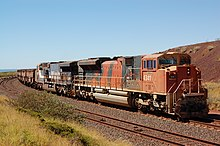 BHP Billiton Iron Ore locomotives nos 4341 and 6071 with a train on the Finucane Island loop, at the northern end of the Goldsworthy railway.