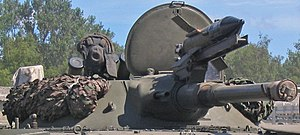 2A28 Grom - Close-up of a Czech BPzV-1's turret, 2 July 2005. Note the ATGM launcher for the 9M14M Malyutka-M