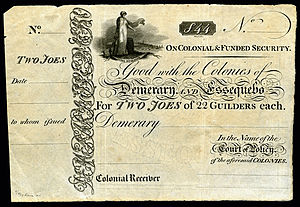 Banknotes of Demerary and Essequibo - Image: BR GUI B2 Demerary & Essequebo Two Joes (22 Guilders each)(1830s)