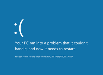 Blue Screen of Death - The Blue Screen of Death in Windows 8 and Windows 8.1 includes a sad emoticon