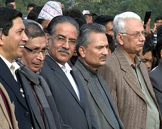 Communist Party of Nepal (Maoist Centre) - From left to right: Baburam Bhattarai, Pushpa Kamal Dahal, Mohan Baidya, Narayan Kaji Shrestha