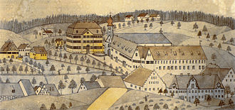 Baindt Abbey - Baindt Abbey; drawing of 1889, based on earlier image