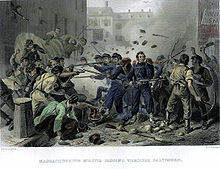A lithograph depicting a group of militia soldiers surrounded by a large crowd of rioters with firearms and clubs. Projectiles, stones and bricks, fill the air above the soldiers.