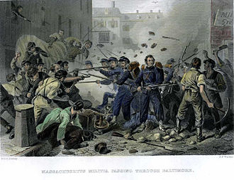 "Baltimore riot of 1861 - ""Massachusetts Militia Passing Through Baltimore"", an 1861 engraving of the Baltimore Civil War riots"
