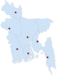 Bangladesh Map. Consisting the eight administrative division, and 64 districts.