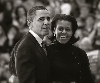 English: Barack Obama and Michelle Obama (Crop...