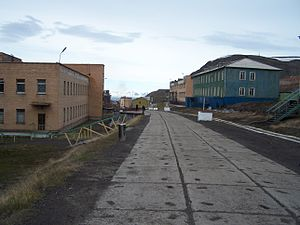 Central Barentsburg, the main street.