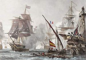 A small boat with a red and yellow striped flag sails on a choppy sea between two large damaged ships. Four ships are visible through the smoke in the background.