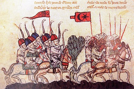 The battle of Wadi al-Khazandar, 1299. depicting Mongol archers and Mamluk cavalry (14th-century illustration from a manuscript of the History of the Tatars) BattleOfHoms1299.JPG