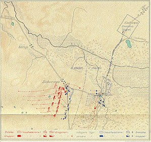 Battle of Górzno - Map over the battle of Górzno