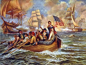 Oliver Hazard Perry - Perry (standing) after abandoning Lawrence in a 1911 painting by Edward Percy Moran