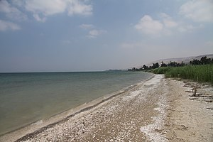 Jesus walking on water - The beach of the Sea of Galilee, in Israel