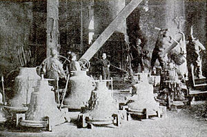 Bellfounding - Casting bells by pouring molten metal into the moulds