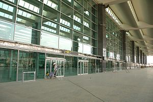 Kempegowda International Airport - The terminal building nearing completion in March 2008