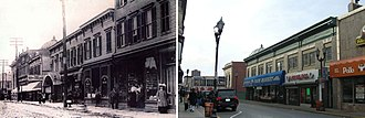 Bergenline Avenue - Bergenline Avenue then and now: Facing south toward 32nd Street, circa 1900 (left), and in 2010 (right).
