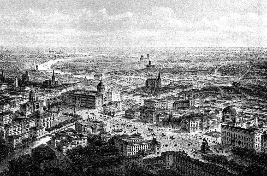 Forum Fridericianum à Berlin au premier plan à gauche, ici en 1850.