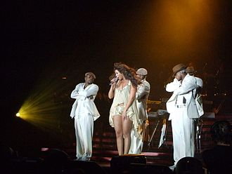 "Upgrade U - Knowles performing ""Upgrade U"" on The Beyoncé Experience with several male backup dancers."