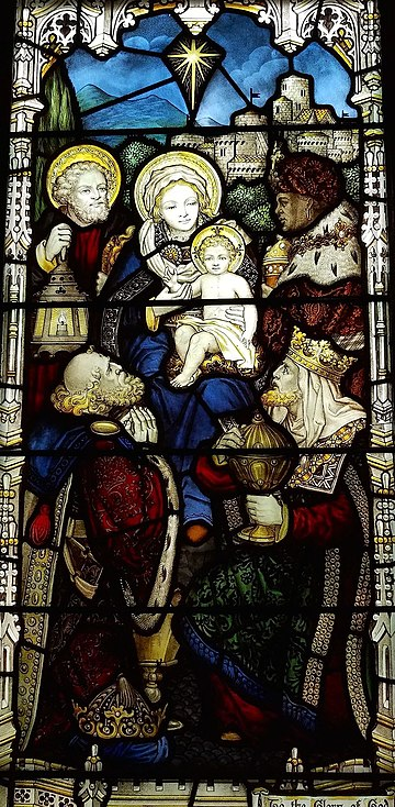 Biblical Magi stained glass window, ca. 1896, at Church of the Good Shepherd (Rosemont, Pennsylvania), showing the three magi with Joseph, Mary, and Jesus Biblical Magi stained glass window, ca. 1896, Church of the Good Shepherd (Rosemont, Pennsylvania).jpg