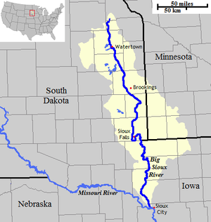 Big Sioux River - The course and watershed of the Big Sioux River.