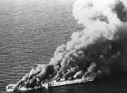 The Iranian frigate IS Sahand burns after being hit by 20 U.S. air launched missiles and bombs, killing a third of the crew, April 1988 Bild-Prayingmantis5sahand.jpg