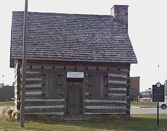 Des Moines, Iowa - The Barney Sakulin cabin moved from Washington County memorializes Fort Des Moines.