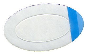 Gel - An adhesive bandage with a hydrogel pad, used for blisters and burns. The central gel is clear, the adhesive waterproof plastic film is clear, the backing is white and blue