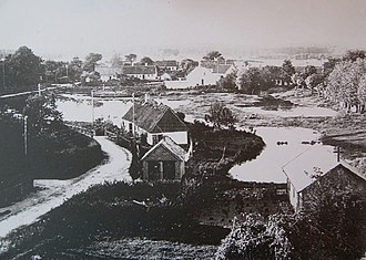 Blovstrød - Blovstrød viewed from the church tower in 1916: The village pond consisted of several smaller ponds