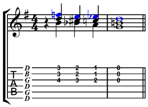 V–IV–I turnaround - Image: Blues turnaround open G tuning