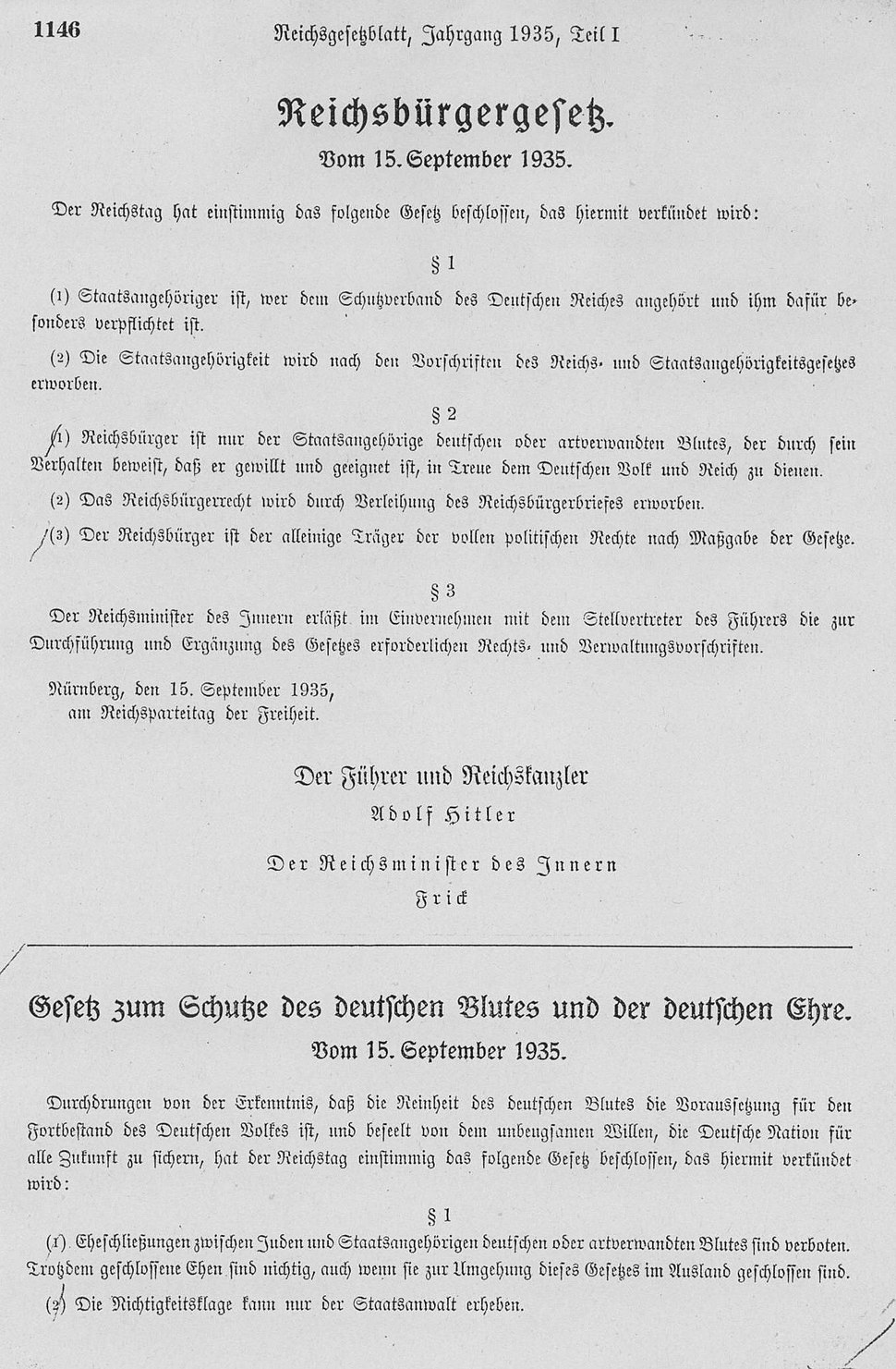 Blutschutzgesetz v.15.9.1935 - RGBl I 1146gesamt