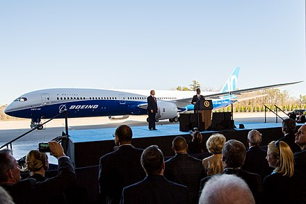 Boeing CEO Dennis Muilenburg and President Trump at the 787-10 Dreamliner rollout ceremony Boeing 787-10 rollout with President Trump (32335755473) (cropped).jpg