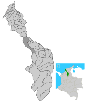 Magangué - Location of the municipality and town of Magangué in the Bolivar Department.