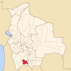 Location of the Sud Chichas Province within Bolivia