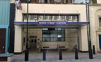Bond Street tube station - The Marylebone Lane entrance, which opened in 2017 and provides step-free access as part of the Crossrail upgrade