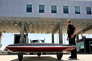 American Solar Challenge - Minnesota's Borealis III crosses the border to Canada on July 21, 2005.