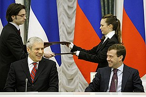 Russia–Serbia relations - Meeting between Boris Tadić and Dmitry Medvedev in 2008 in Moscow when the deal regarding the South Stream construction was sealed
