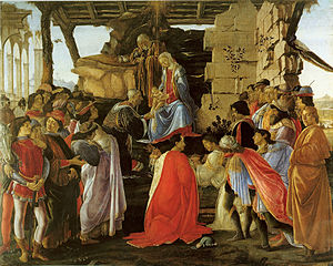 Lorenzo de' Medici - The Adoration of the Magi includes several generations of the family and their retainers. Sixteen-year-old Lorenzo is to the left, with his horse, prior for his departure on a diplomatic mission to Milan.
